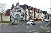 SU1585 : County Road and mural, Swindon by Jaggery