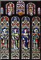 TL7963 : St Nicholas, little Saxham - Stained glass window by John Salmon
