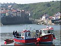 NZ7818 : Fishing boats in Staithes Harbour by David Martin