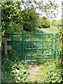 TM3464 : Kissing Gate of the footpath to Bruisyard Road by Geographer