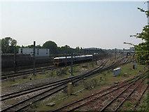 TQ2282 : Trackwork between two railway depots by Stephen Craven