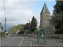ST4636 : Bus stop and Holy Trinity church, Walton by Ken Grainger
