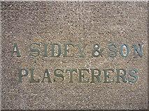 NU0052 : Berwick-Upon-Tweed Townscape : Contractor's Mark In Concrete on Berwick Breakwater by Richard West