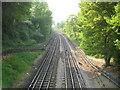 TQ4492 : Grange Hill: Central Line railway to Chigwell by Nigel Cox