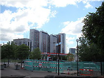 TQ3980 : Tower blocks in East India Dock from the riverside path opposite Bow Creek by Robert Lamb