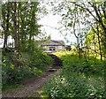 SJ9694 : Steps to Godley Hall Inn by Gerald England