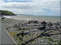 SN4562 : The pebble storm beach at Aberaeron by Jeremy Bolwell