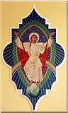 TQ3385 : St Paul's Church, Stoke Newington Road - Wall painting by John Salmon