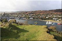 NR8668 : View towards Tarbert from Tarbert Castle hill by Michael Jagger