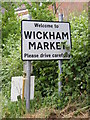 TM2956 : Wickham Market name sign by Adrian Cable