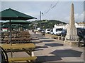 SX9472 : Parasols and picnic tables on the prom by Robin Stott