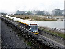 SH5838 : Bus crossing the Cob, Porthmadog, Gwynedd by Christine Matthews