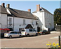 SO3700 : Coffee shop, pub, bank and bus shelter, Twyn Square, Usk by Jaggery