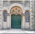 SN4120 : Ornate entrance doorway, Priory Congregational Church, Carmarthen by Jaggery