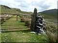 SH7147 : Gate and wall stile on the Rhiwbach tramroad by Dave Spicer