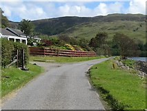 NM8312 : Road heading along the banks of Loch na Cille by James Denham