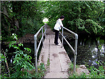 SU7251 : Greywell:  Footbridge over  River Whitewater by Dr Neil Clifton