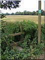 TM2365 : Stile & Sign of footpath to Bedfield Little Green by Adrian Cable