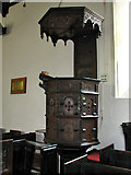 TM3464 : St Michael's church in Rendham - Jacobean pulpit by Evelyn Simak
