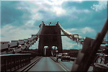 SH5571 : Menai Suspension Bridge - 1980 by Helmut Zozmann
