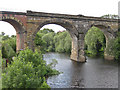 NZ4113 : Two stone arches of the Yarm Viaduct by Pauline E