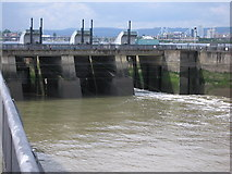 ST1972 : Sluice gates in Cardiff bay barrage by Rudi Winter