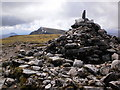 NN1972 : Summit cairn on Aonach Mòr, view south by Peter S