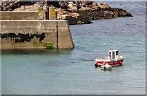 SW9980 : Port Isaac : Boat & Breakwater by Lewis Clarke