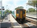 SS9768 : Bridgend train awaits departure from Llantwit Major station by Jaggery