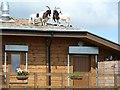 NZ0493 : Goats on the roof by Joan Sykes