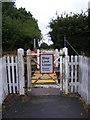 TM4362 : Level Crossing Gate on the footpath to the B1119 Saxmundham Road by Adrian Cable