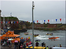 NT6779 : Dunbar Lifeboat Day 2011 : Raft Race In Victoria Harbour by Richard West