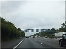 SU6350 : Cliddesden bridge over M3 from Audleys Wood by David Smith