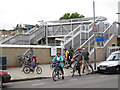 TQ3776 : Footbridge at Elverson Road DLR station by Stephen Craven