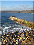 SW3526 : The breakwater at Sennen Cove by Rod Allday