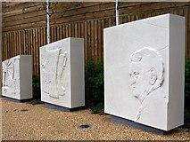 NZ2464 : Memorial stones, Sir Bobby Robson Memorial Garden by Andrew Curtis