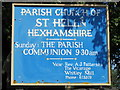 NY9257 : Sign for St. Helen's  Church, Whitley Chapel by Mike Quinn