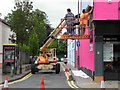H4572 : Painters at work, Campsie Road, Omagh by Kenneth  Allen