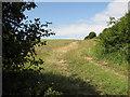 TF8641 : Footpath along a field boundary hedge, Burnham Thorpe by Evelyn Simak
