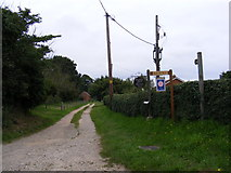 TM4160 : Footpath to Friston Moor & entrance to Woodside Farm & Orchard Bank by Geographer