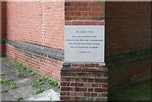 TQ3191 : St Cuthbert, Wolves Lane, Chitts Hill - Foundation stone by John Salmon
