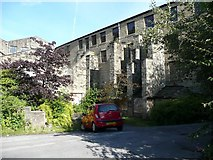 SE0026 : Buttresses on the disused clog sole works, Mytholmroyd by Humphrey Bolton