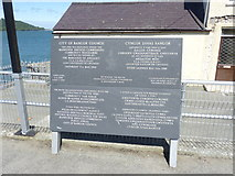 SH5873 : Pier restoration memorial, Bangor by Meirion
