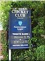 SZ8998 : Pagham Cricket Club sign, Nyetimber Lane, Nyetimber by P L Chadwick