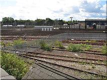 TQ2282 : Old Oak Common, EWS fence, FGW depot by David Hawgood