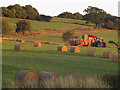 SK7804 : Abbey Farm - hay bales being collected by Stephen Craven