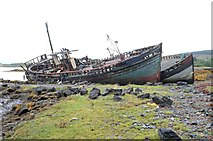 NM5643 : Boats at the old pier, Salen (1) by Andrew Hackney