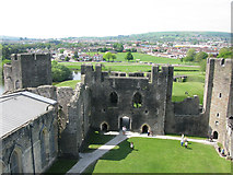 ST1587 : Inside Caerphilly Castle from the East inner gatehouse by Nick Smith