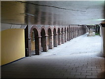 NZ2564 : Newcastle upon Tyne: a subway and an older wall by Chris Downer