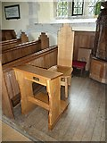 SU5846 : Dummer - All Saints Church:  prayer desk and intriguing chair by Basher Eyre